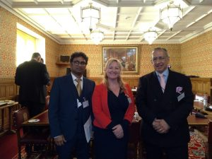 Lisa Cameron MP with Gerry Allmark and Raguraman Padmanabhan